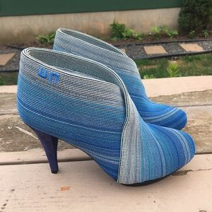 United Nude Blue Fold Hi Stripe Heeled Booties